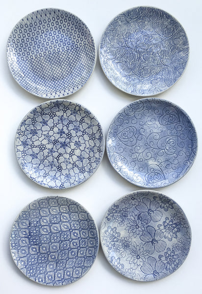 Side Plates, Blue or Turquoise set of 6