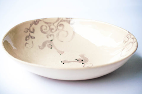 Pebble Pasta Bowl, Bird Stamp