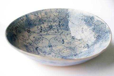 Medium Salad Bowl, Blue Pattern