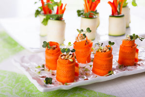 Allthatdips Recipes : Allthatdips Spicy Sriracha Hummus Carrot Swirls with baby fenugreek greens
