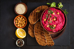 Allthatdips Recipe : Beetroot Hummus with toast