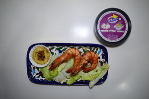 OVEN BAKED GARLIC JUMBO PRAWNS WITH ALLTHATDIPS ROASTED GARLIC HUMMUS