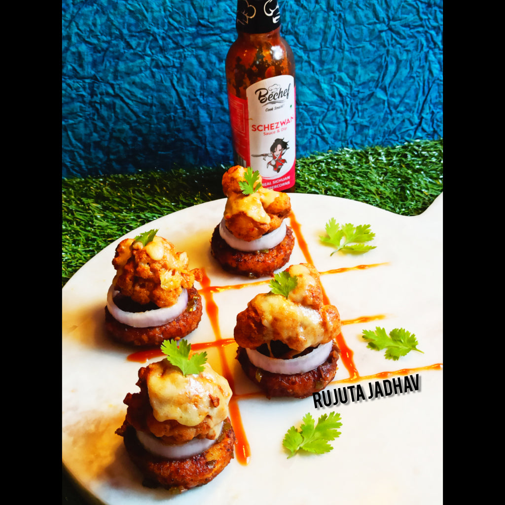 Schezwan Hashbrowns with Cheesy Tandoori Gobi Florets by Chef Rujuta Jadhav  Instahandle @rujulicious