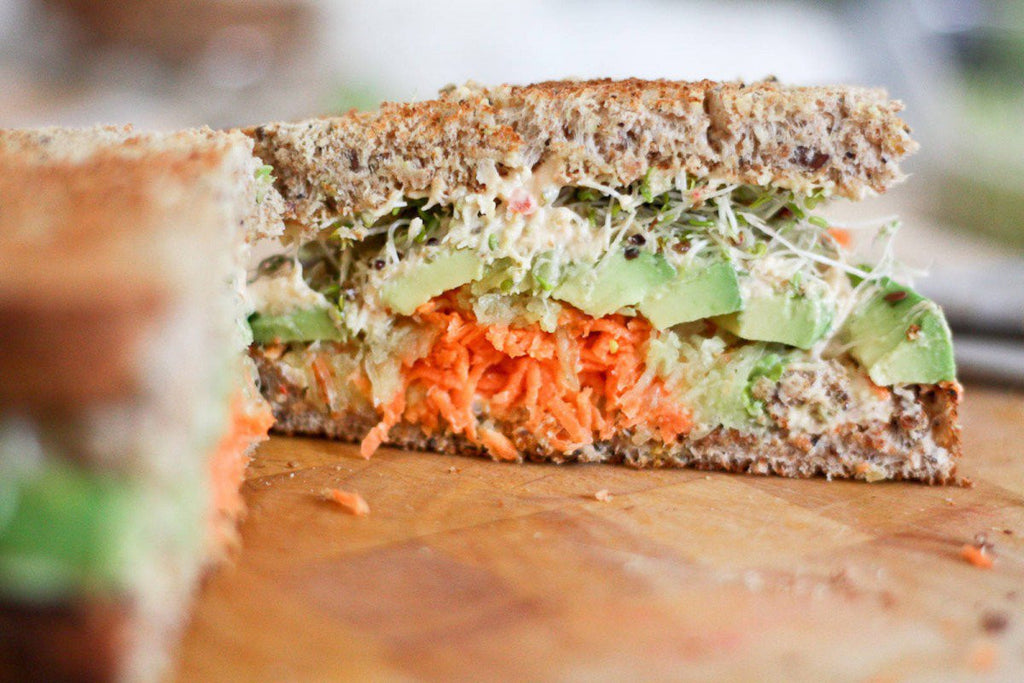 Convincing Your Kids to Eat More Fiber with an Hummus Sprouted Sandwich - Lunch Box recipe