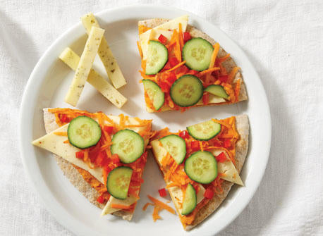 Allthatdips Recipe : Cold Vegetable Pizza with Allthatdips Classic Salted Hummus and Cheese