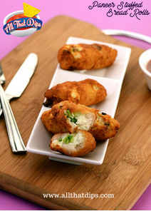 Allthatdips Recipe : Cottage Cheese ( Paneer ) Stuffed Bread Rolls Served with Allthatdips Salsa Picante