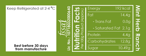 Allthatdips Mint Herb Ranch nutrition facts all that dips