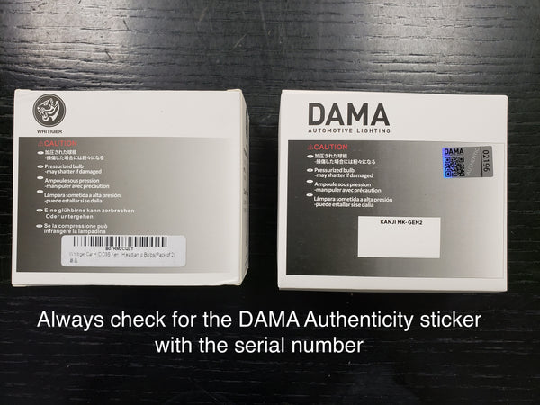 Always check DAMA authenticity hologram sticker with a serial number