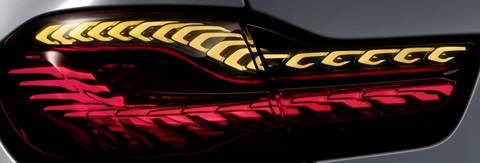close up view of BMW laser bulb tail light