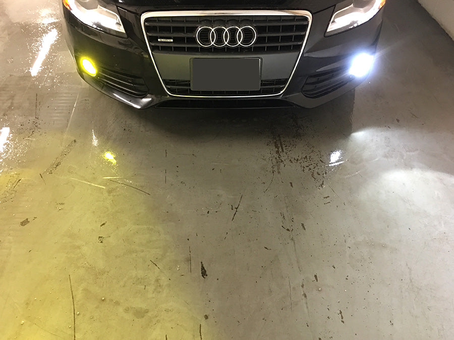top view of LED Foglight test with audi