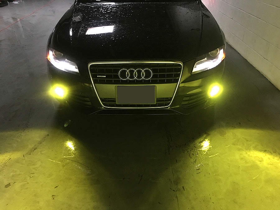 front view of LED Foglight test on audi