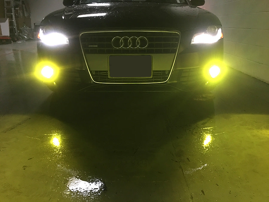 Front view of LED foglight on audi