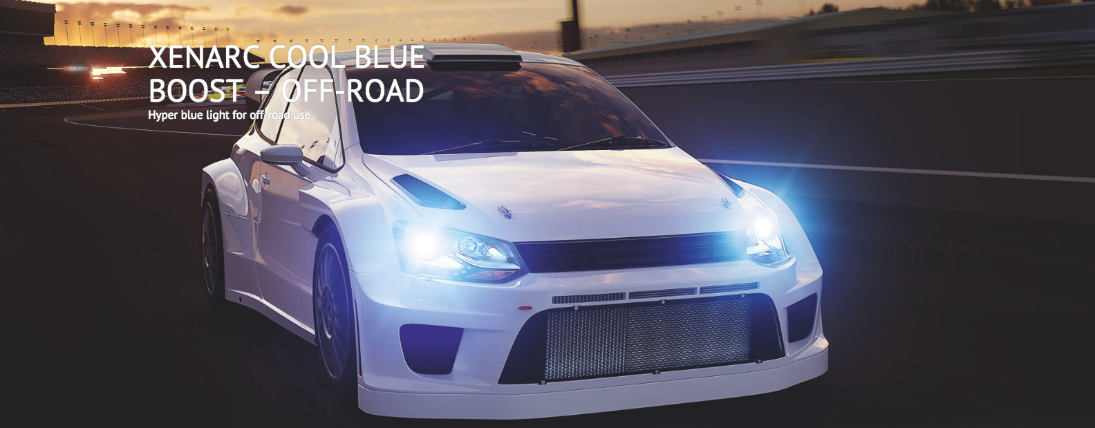 A white sports car with Osram Cool Blue Boost HID headlight bulbs