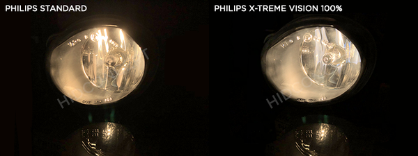 Comparison between Philips Standard bulbs and Philips X-treme Vision bulbs