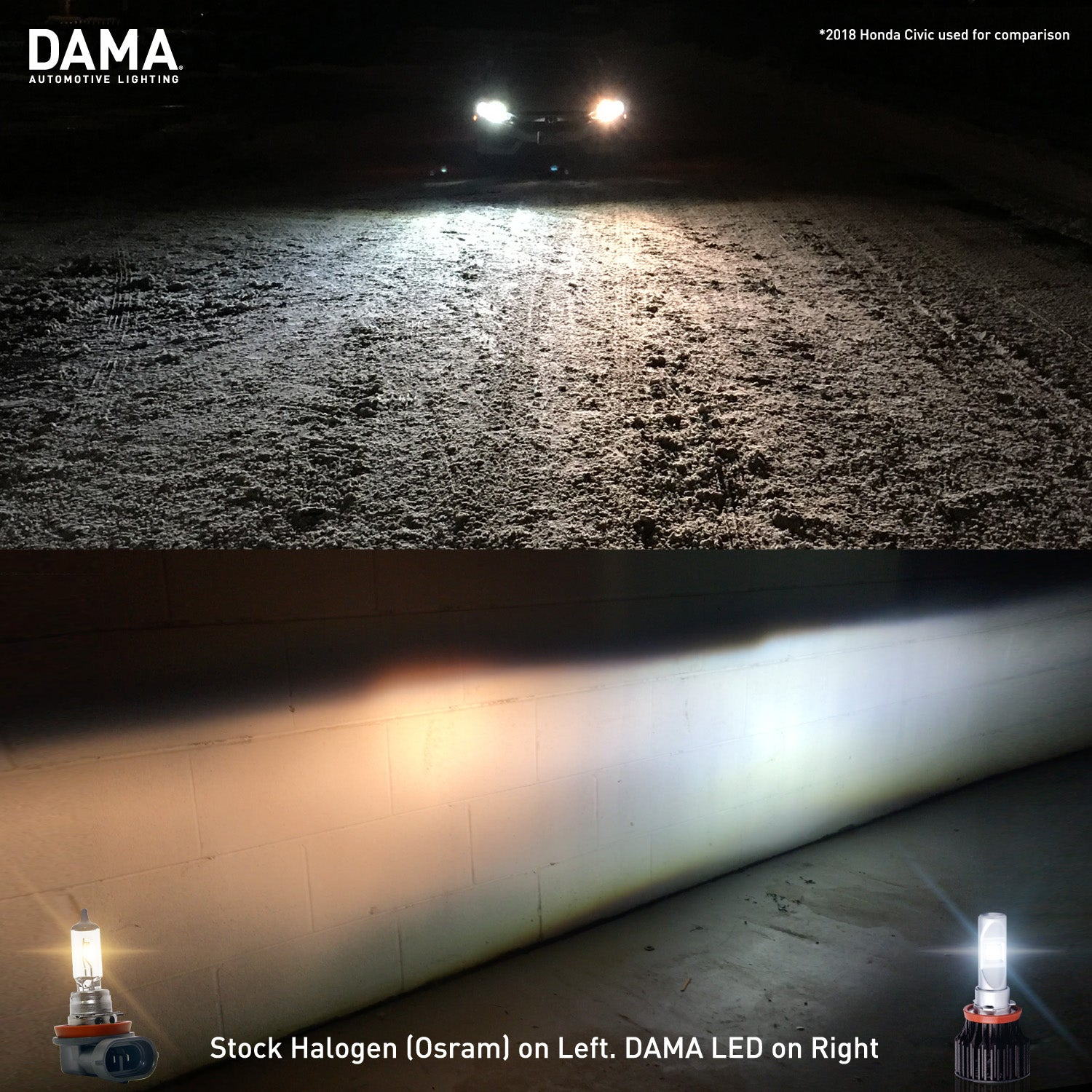 a car with regular halogen bulb on a snowy ground and beam on the wall surface