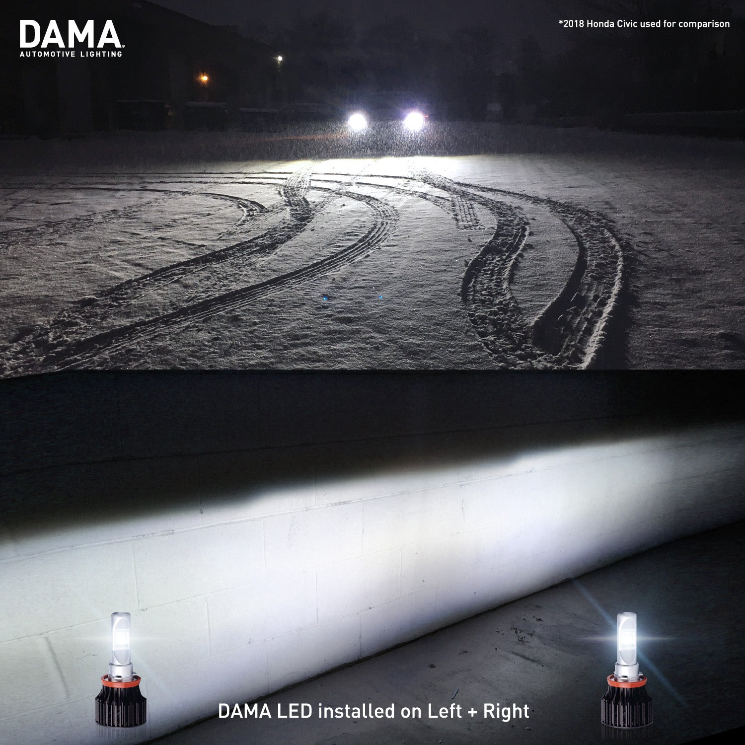 A Honda Civic with DAMA Kanji LED bulb light test on snow and wall