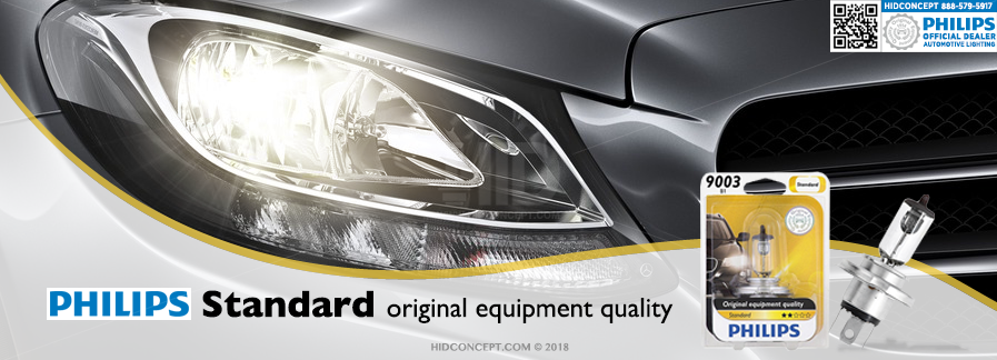 Car headlight using Philips Original Standard OEM bulbs
