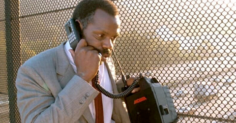"Danny Glover using Motorola Suitcase mobile phone in the movie, ""Lethal Weapon"""