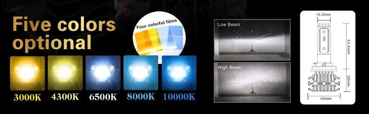 Color options for HCX LED Foglight Bulbs