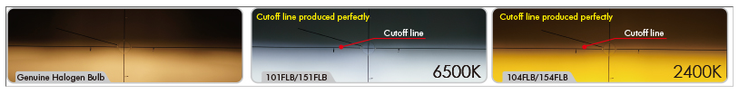Cutoff line comparison between IPF LED and standard halogen bulbs