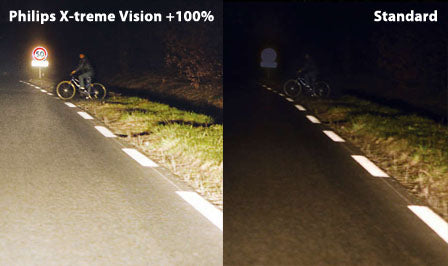 comparison photo between philips standard bulbs and x-treme vision bulbs