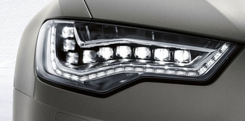 close up of audi with led headlight