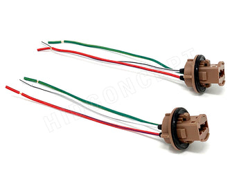 Two 7443 light bulb socket holder wire harness