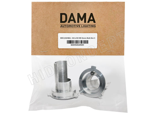 A set of DAMA H4 9003 to D2 HID xenon bulb adapters