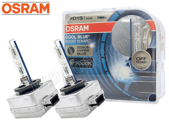 two opened Osram D1S 7000K Cool Blue Boost Bulbs with the package