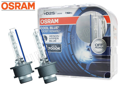 two opened Osram D2S Cool Blue Boost 7000K Bulbs with the package