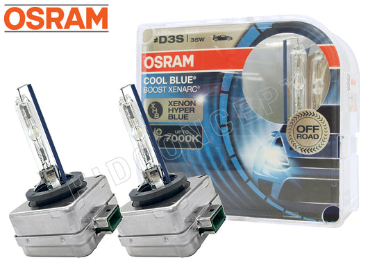 two opened Osram D3S HID Cool Blue Boost 7000K Bulbs with the package