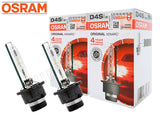 Two Osram D4S OEM HID bulbs with the package