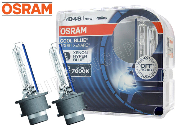 two opened OSRAM D4S 7000K HID Cool Blue Boost Bulbs with the package