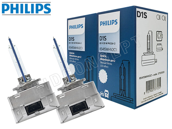 two bulbs and package of Philips D1S HID White Vision 5000K