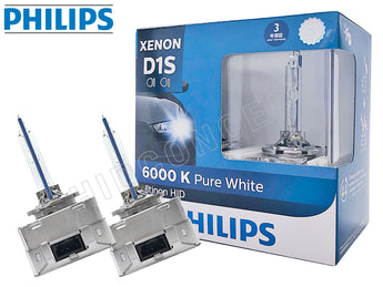two opened Philips D1S HID Ultinon 6000K Bulbs