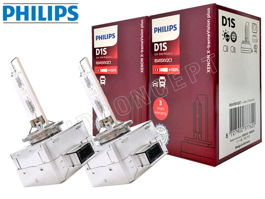 two bulbs and package of Philips D1S HID X-treme Vision +150%