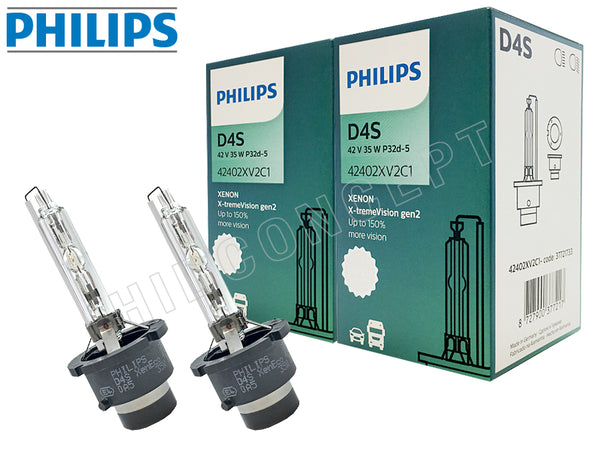 two opened Philips D4S HID X-treme Vision +150% Bulbs with the package