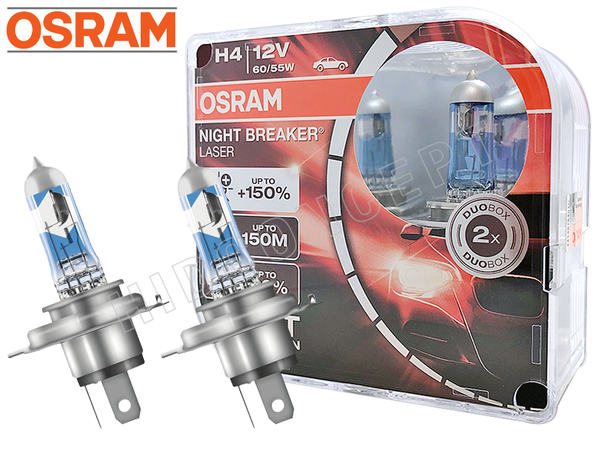 H4(9003/HB2) - OSRAM Night Breaker Laser +150% Bulbs | Pack of 2