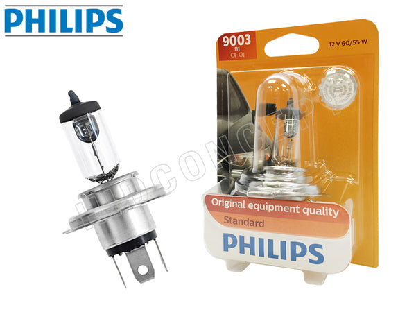 opened bulb and packaged bulb of #9003 (H4/HB2) Philips Original Standard OEM Bulb