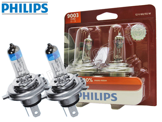 burgundy colored package and two opened #9003 (H4/HB2) Philips X-treme Vision +100%