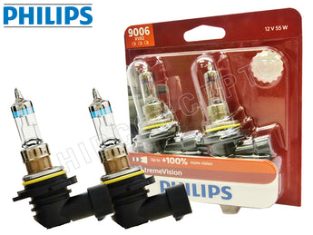 two opened 9006 (HB4) Philips X-treme Vision +100% 9006XVB2 Bulbs with the package
