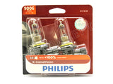 front view of 9006 (HB4) Philips X-treme Vision +100% 9006XVB2 Bulbs in the package