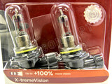 close up view of 9006 (HB4) Philips X-treme Vision +100% 9006XVB2 Bulbs in the package