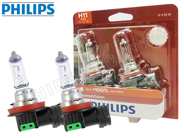two opened PHILIPS H11 X-treme Vision Bulbs and the package