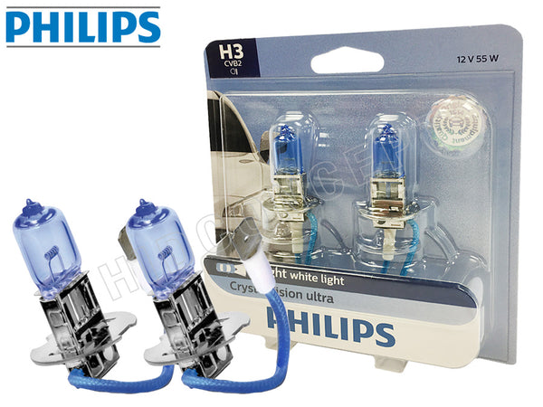 enclosed package and two opened PHILIPS H3 Crystal Vision Bulbs