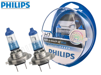 two opened PHILIPS H7 Color Vision Blue Bulbs