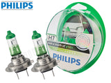 two opened PHILIPS H7 Color Vision Green Bulbs