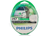 packaged PHILIPS H7 Color Vision Green Bulbs