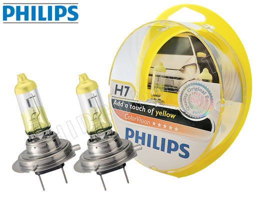 two opened PHILIPS H7 Color Vision Yellow Bulbs