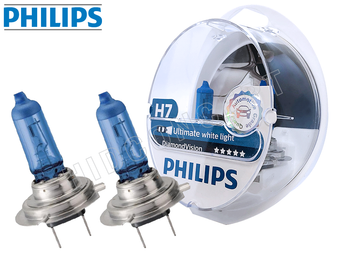 H7: Philips 5000K Diamond Vision Halogen Bulb 12972DVS2 (Pack of 2)